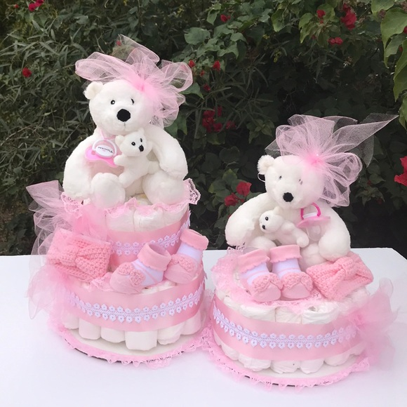 Pampers Accessories Diaper Cake For Twins Baby Shower Gift Set Of